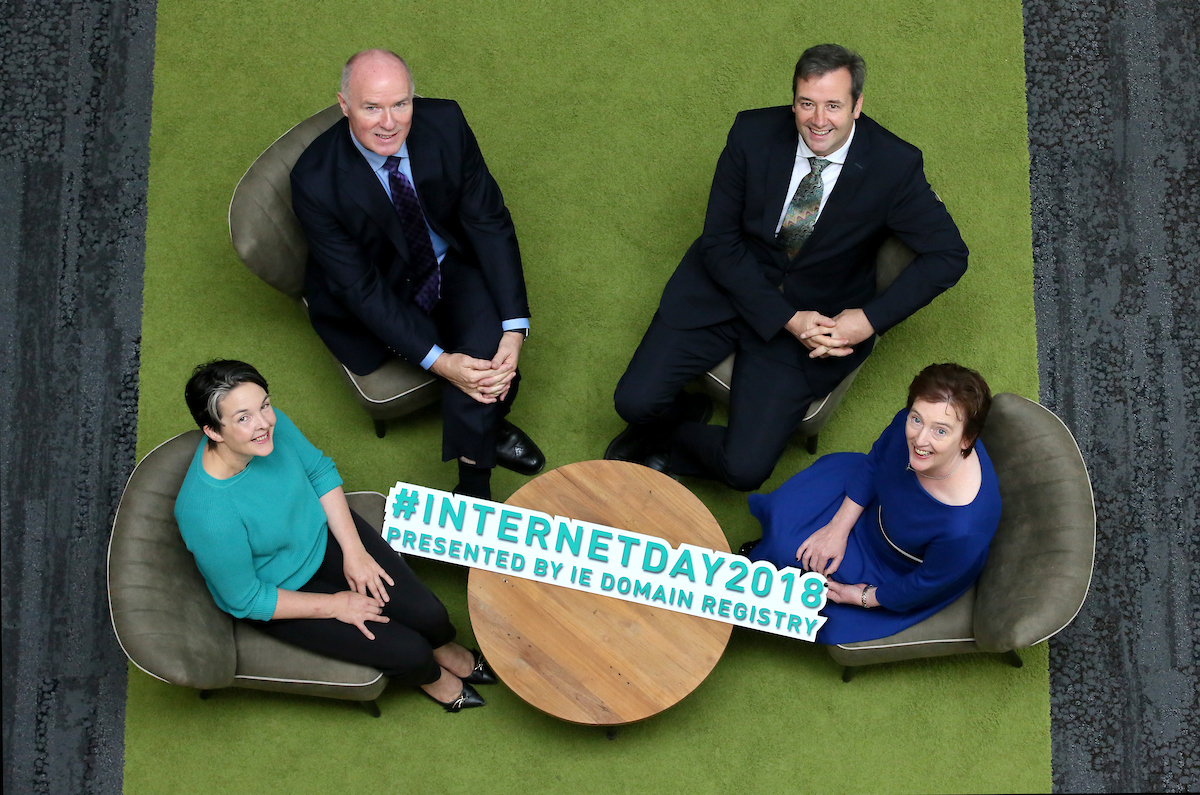Announcement of Internet Day 2018. Amanda Byrne, District Manager, Wexford County Council; David Curtin, CEO, IE Domain Registry; Michael D'Arcy, Minister for State, Department of Finance; Oonagh McCutcheon, Customer Operations Manager, IE Domain Registry