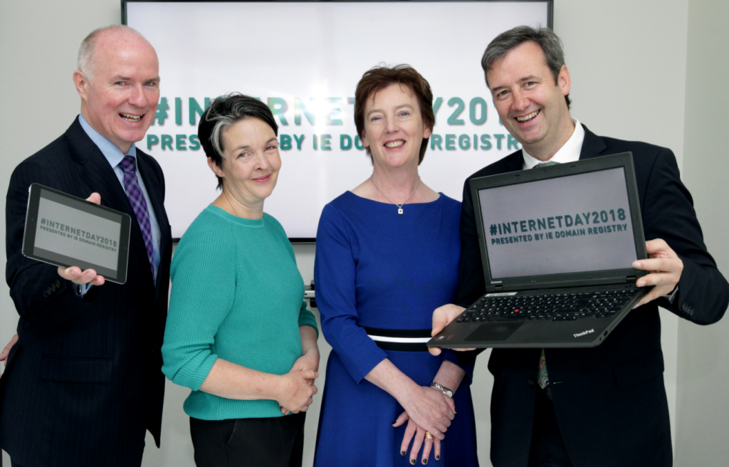 Launch of Internet Day 2018. David Curtin, CEO, IE Domain Registry; Amanda Byrne, District Manager, Wexford County Council; Oonagh McCutcheon, Customer Operations Manager, IE Domain Registry; Michael D'Arcy, Minister for State, Department of Finance