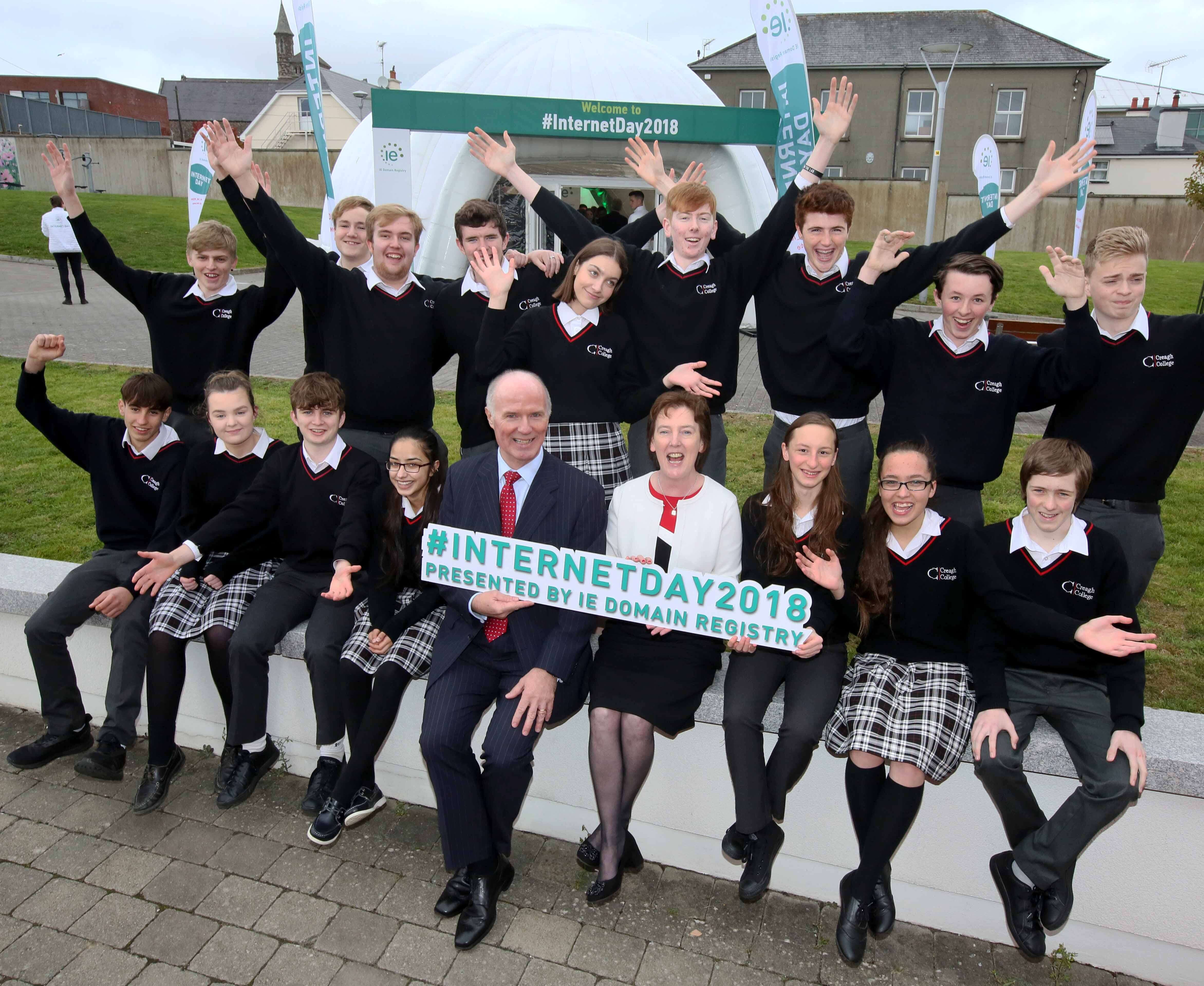 School children from Creagh College enjoy the Internet Day celebrations with our CEO David Curtin and Customer Operations Manager, Oonagh McCutcheon