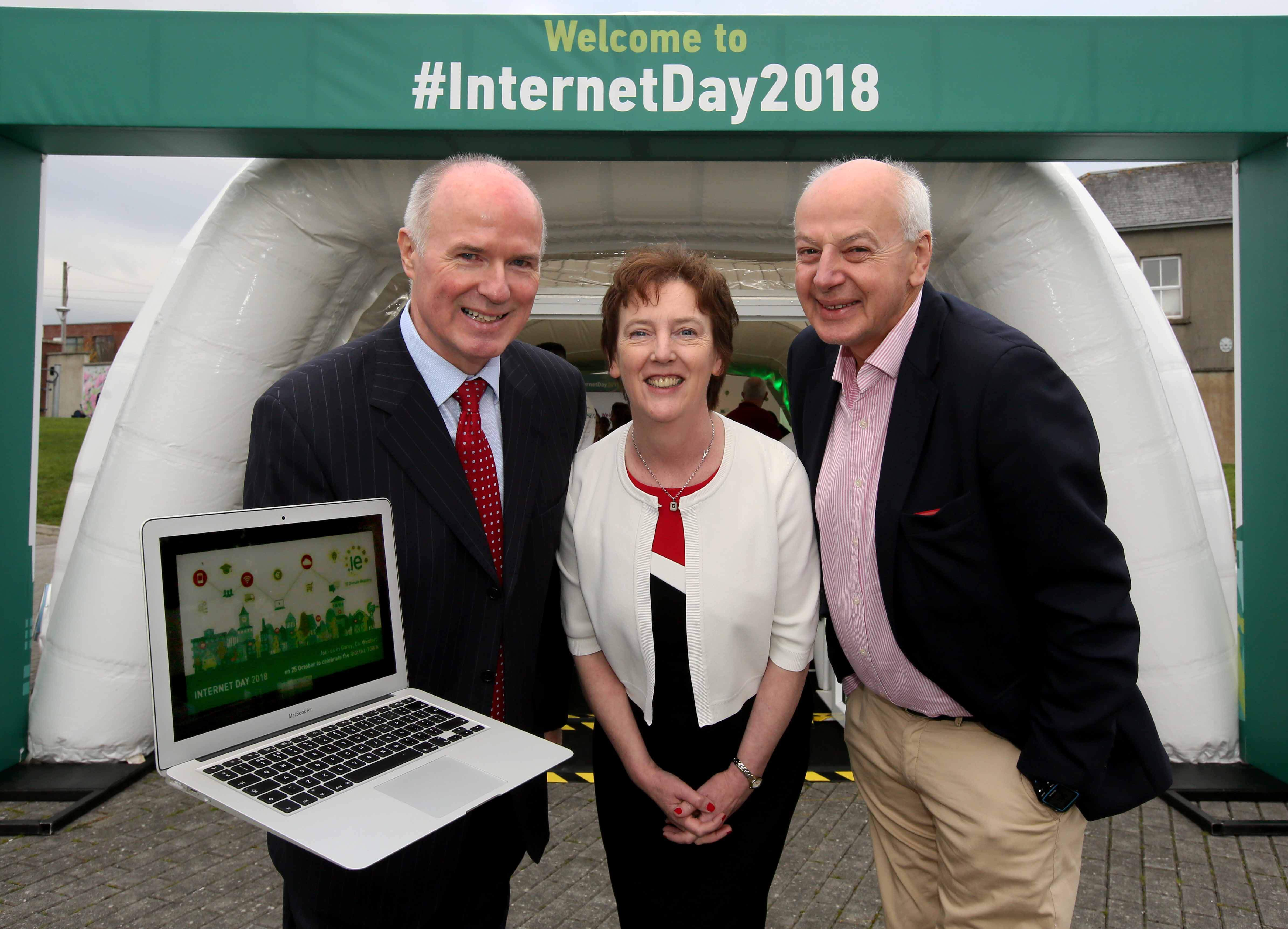 Our CEO David Curtin, Customer Operations Manager Oonagh McCutcheon and MC Bobby Kerr celebrate the launch of Internet Day 2018