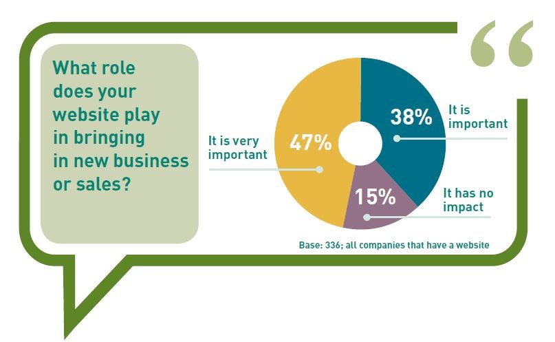 how important is a website for generating new sales or business - 47% very important, 38% important
