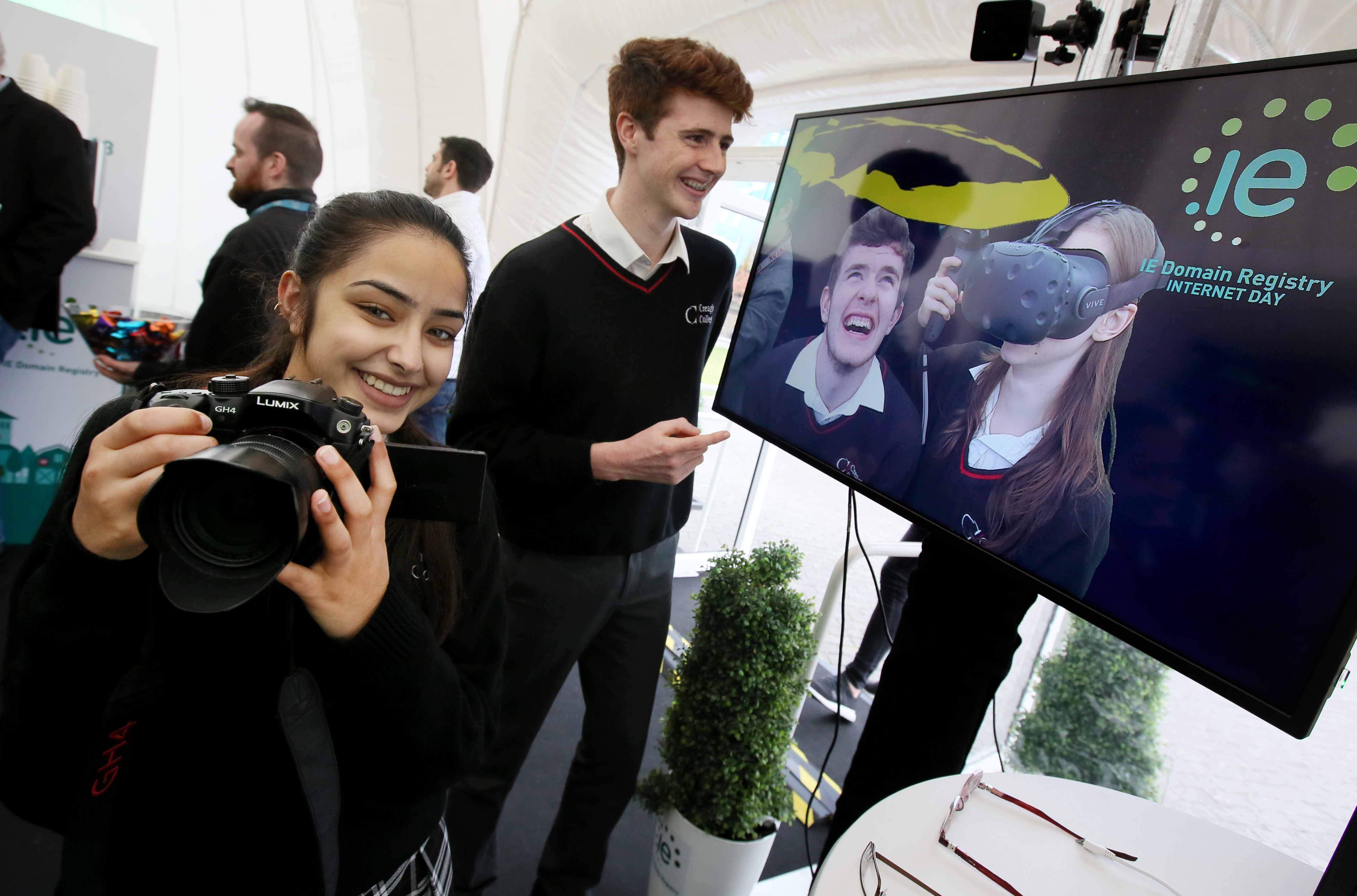 Students from Creagh College check out the mixed reality experience in the IE Domain Registry Digital Dome.
